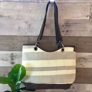 Thirty-One Canvas Crew Shoulder Bag Taupe
